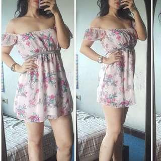 Floral Pink Off Shoulder Dress