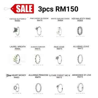 Sale pandora 1:1 rings . RM150 for 3 pcs.
