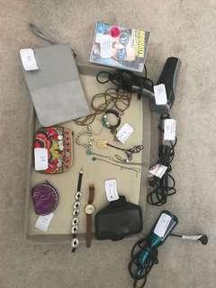 Hairdryer, curler, crisper, bracelets, watches, purses