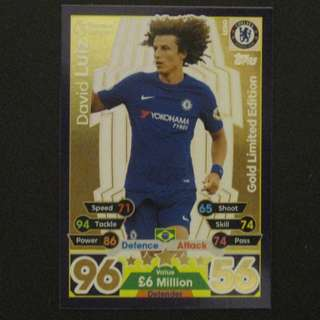 17/18 Match Attax GOLD Limited Edition - David LUIZ #Chelsea 車路士