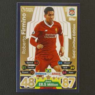 17/18 Match Attax GOLD Limited Edition - Roberto FIRMINO #Liverpool 利物浦