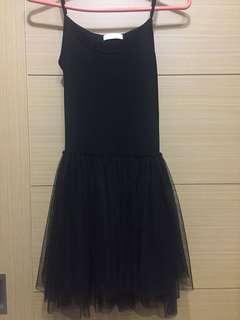 🚚 [二手]黑色內搭連身紗裙 free size