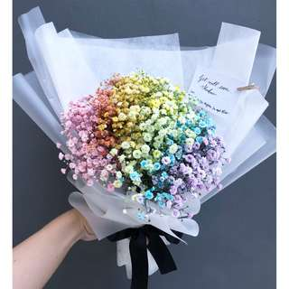 Fresh Flower Bouquet Rainbow baby's breath Flower bouquet, real flowers 🌸
