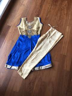 Traditional Indian Dress, worn once. Would suit 5-7 year old depending on the child's height.
