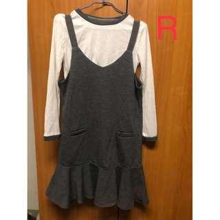 灰色魚尾背心裙洋裝