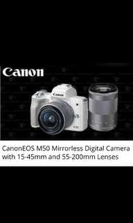 Canon EOS M50 15-45 +55-200 Dual Lens Kit