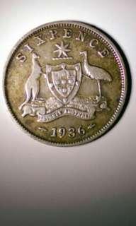 Coin 1936 Six pence AUSTRALIA