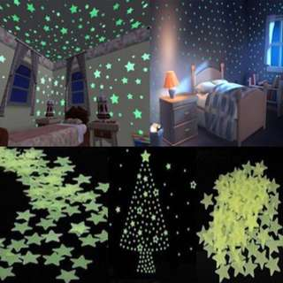 100 Piece Glow-in-the-dark Stars - Wall Decal / Stickers