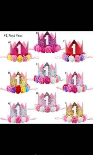Baby Party Garlands First Birthday One Two Three Years Old Princess Crown Floral Glitter Headband [PO]