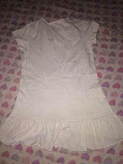 White dress with purple print