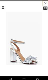 Silver block heels shoes
