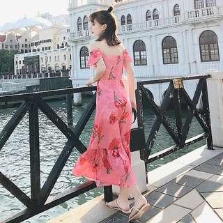 🚚 夏日性感印花度假長洋裝