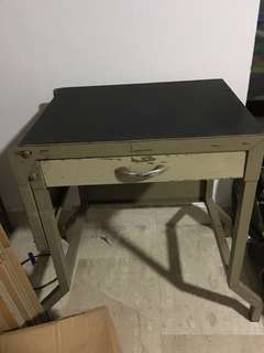 Vintage Industrial Typewriting Desk Table and Typewriter