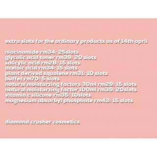 limited slots for the ordinary products as per 14th april