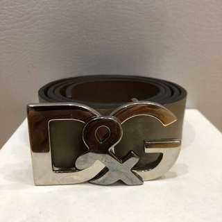 D&G Cintura Asta Dritta Cuoio Bott Belt (Grey)