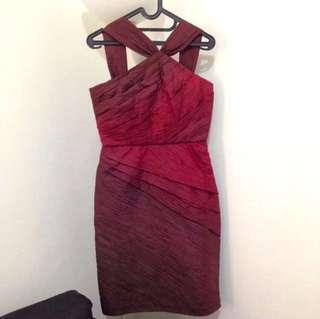 Red Cocktail Evening Dress Midi