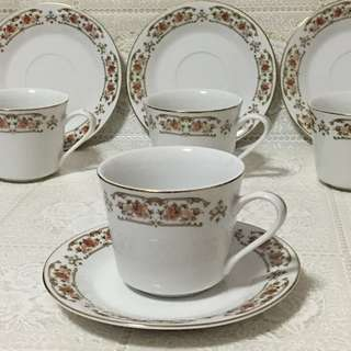 《4 sets》Retro Vintage Tea Cup 4pcs Saucer 4pcs