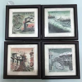 Chinese painting for Spring, Summer, Autumn and Winter 春夏秋冬