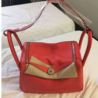 (New) Hermès Lindy TC 30cm T5 Rose Jaipur 全新 手袋 紅色