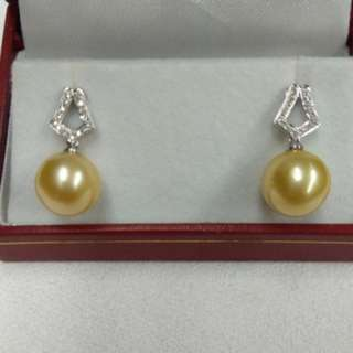South Sea Pearl Earrings with 18k White Gold and Diamonds Mounting