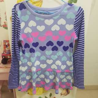 Heart shape top for girls between 3-6 years old