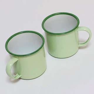《2pcs》Retro Vintage Enamel Container Milk Pitcher Drinking Mug Cup Without Cover Lid 7cm x 7cm