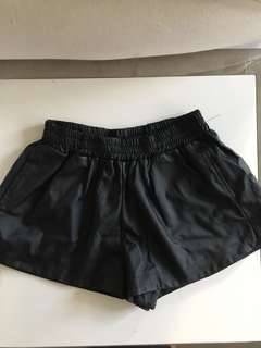Black leather look shorts size 10-12