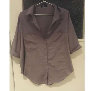 Oversized satin gray button-up shirt