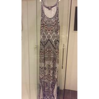 Printed maxi dress with slits