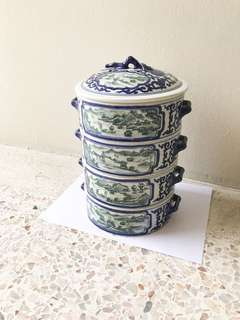 Exquisite 4-tier porcelain tiffin carrier