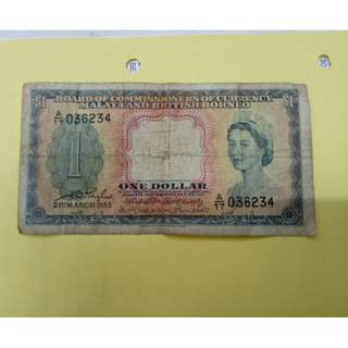 1dollar 1953 queen malaya vfine