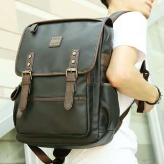 Genuine leather mens backpack double clip w/cover