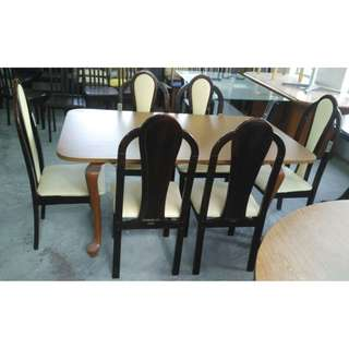 Meja Makan Dining Table Set 1+6 (L152 x W91 x H76cm)* L14 A