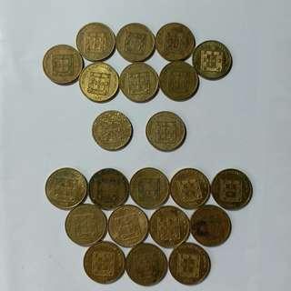 【錢幣收藏】澳門舊硬幣:福字版1亳(22個)