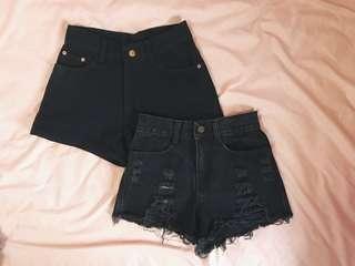 black frayed ripped denim highwaist shorts