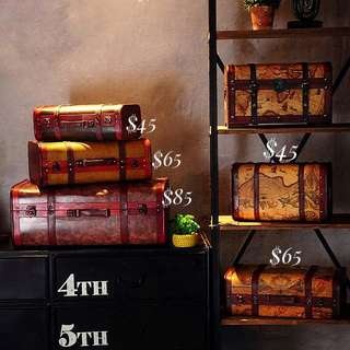 World map Vintage suitcase Trunk decor