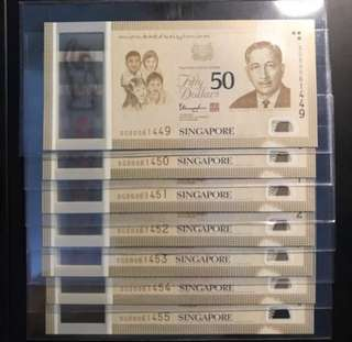 SG50 $50 Limited Edition Rare Long Run! Singapore 🇸🇬 SG50 Blue Prefix Long Run S1 Commemorative Set, SG50 061449 - 061455, 7 Pcs Run. Only Issue 50,000 Limited Set.