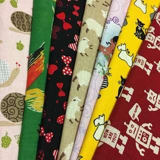Combo promotion 7pcs cotton/linen/canvas fabric/kain diy cloth