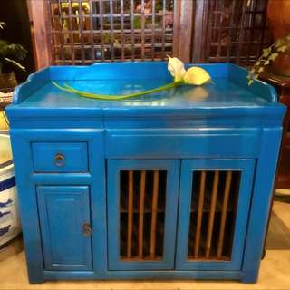Antique Blue Lacquer Side Chest With Bamboo-struts
