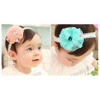 Kids Hair Accessories - Hair Band - Flower Design - OrangeBeige/Blue colour