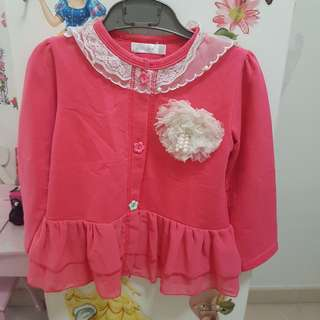 Pink cardigan for girls between 3-5 years old