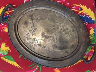 Vintage Brass Oval Serving Tray