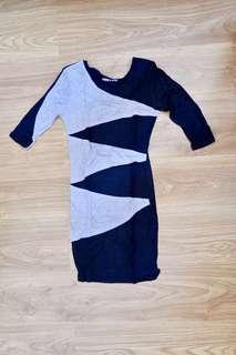 F&H black and grey bodycon dress
