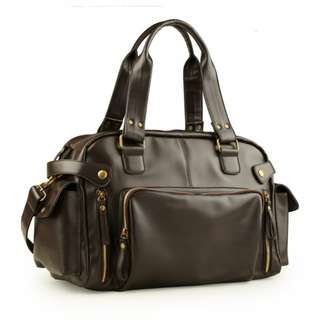 Fashion quality PU leather mens bag traveling bag