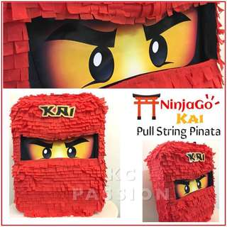 ⛩ NINJAGO PARTY PINATA [KAI • LLOYD • COLE • JAY • ZANE] Customized • Personalized • Pull String • Hit Type • Table Center Piece • Photo Props
