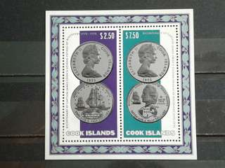 1974 Cook island-Captain cooks mini sheets