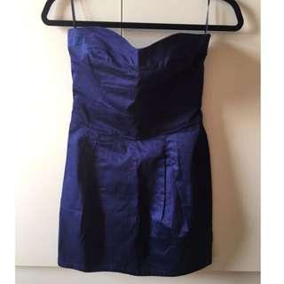 Mango 亮藍色平口洋裝