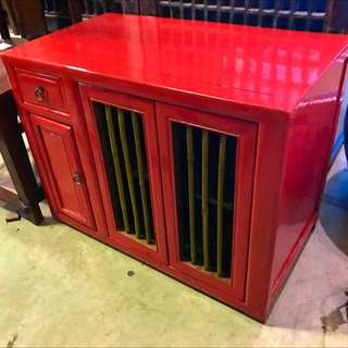 Antique Red Lacquer Side Chest With Bamboo-struts