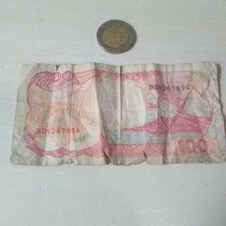 Uang 100 kertas+1000 logan