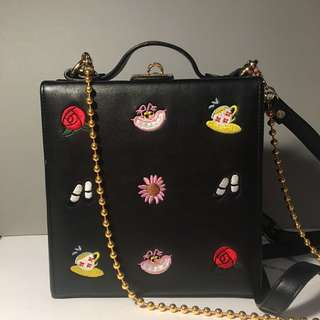 High cheek and Alice black leather embroidered floral shoulder box bag